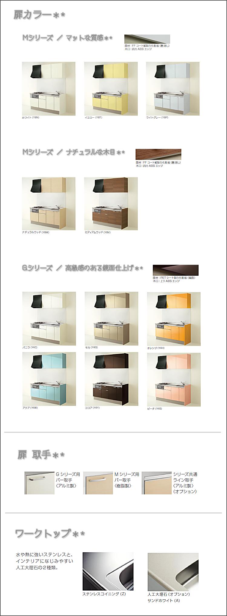 クリナップ/コルティ 商品バリエーション