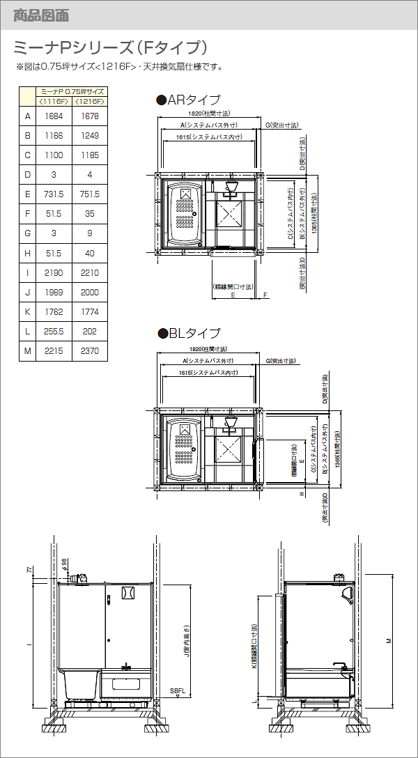 タカラスタンダード/ミーナ Pシリーズ(Fタイプ) 商品図面